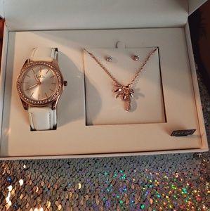 L & Co. Watch, necklace, & earring set - Palm Tree